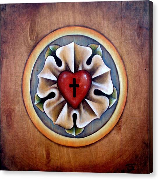Wood Grain Canvas Print - Luther's Rose - Natural by Tanya Nevin