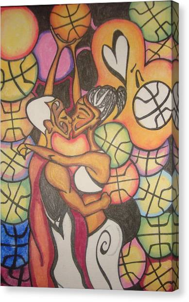 Luv N B'ball Canvas Print by Chibuzor Ejims