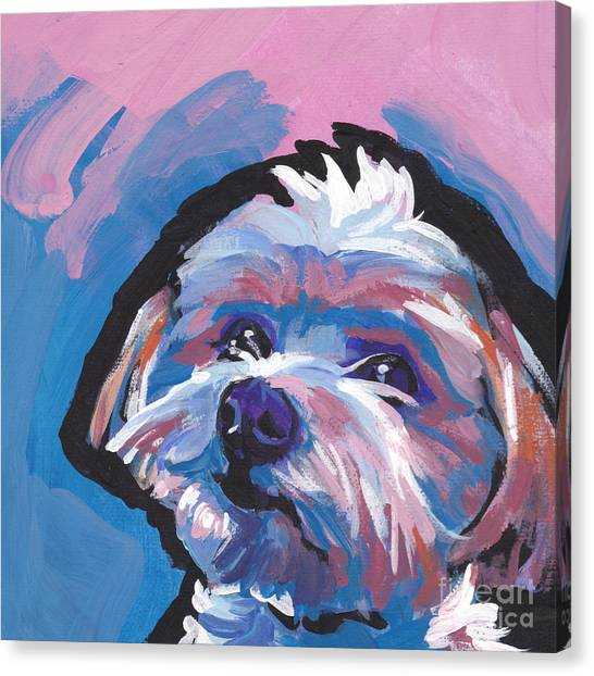 Yorkie Canvas Print - Luv You Mor by Lea S