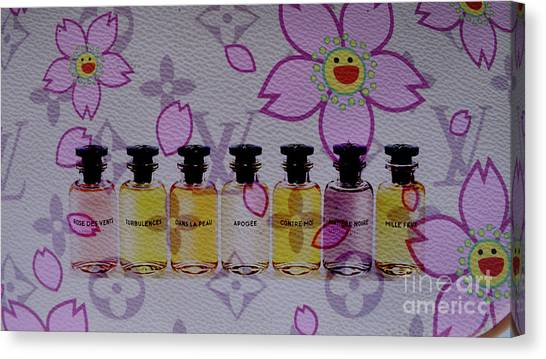 Jimmy Choo Canvas Print - Lv Cherry Blossom And Lv Perfumes by To-Tam Gerwe