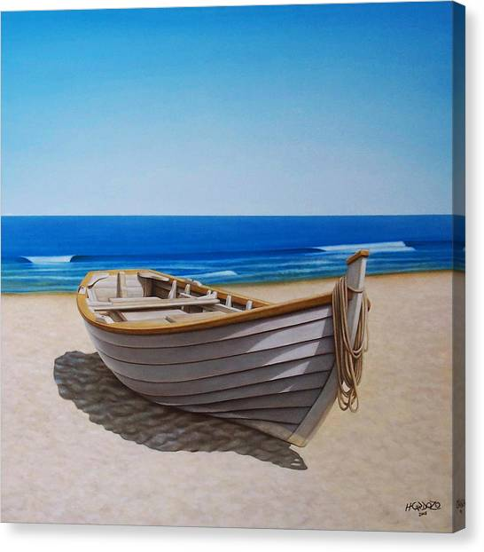 Fishing Boats Canvas Print - Lying On The Sand by Horacio Cardozo