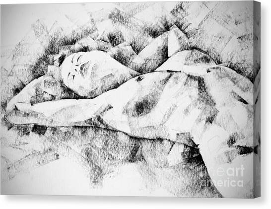 Lying Woman Figure Drawing Canvas Print