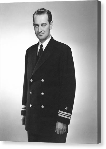 Lyndon Johnson Canvas Print - Lyndon Johnson - Naval Uniform - Ww2 by War Is Hell Store