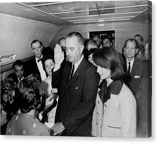 Lyndon Johnson Canvas Print - Lyndon Johnson Receiving Oath Of Office After Kennedy Assassination  by Mountain Dreams