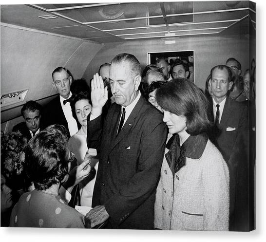 Lyndon Johnson Canvas Print - Lyndon Johnson Takes Oath  November 22, 1963 by Daniel Hagerman