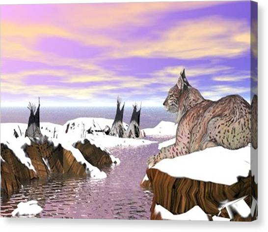 Canvas Print featuring the digital art Lynx Watcher Render by Darren Cannell