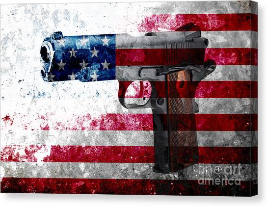 M1911 Colt 45 And American Flag On Distressed Metal Sheet Canvas Print