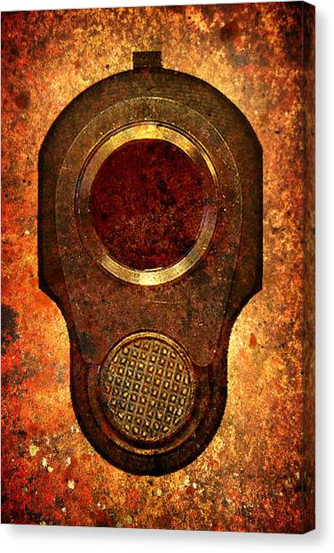 M1911 Muzzle On Rusted Background Canvas Print