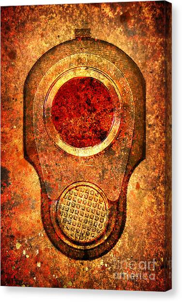 M1911 Muzzle On Rusted Background - With Red Filter Canvas Print