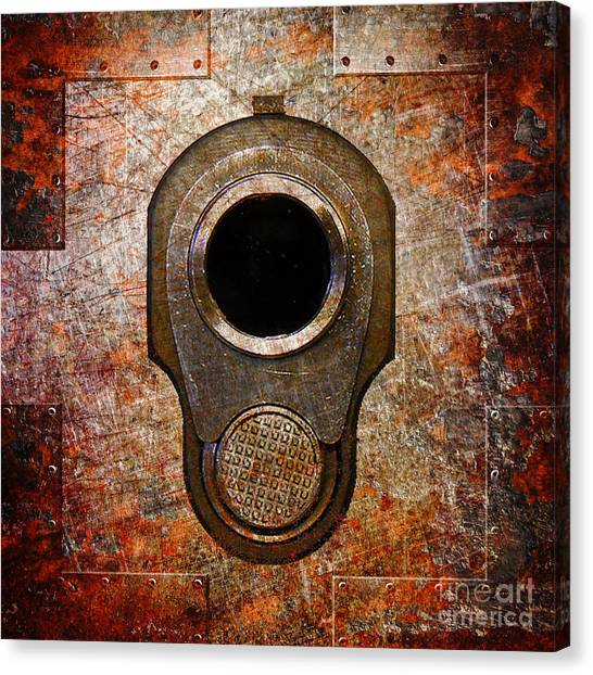 M1911 Muzzle On Rusted Riveted Metal Canvas Print