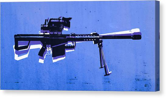 Rifles Canvas Print - M82 Sniper Rifle On Blue by Michael Tompsett