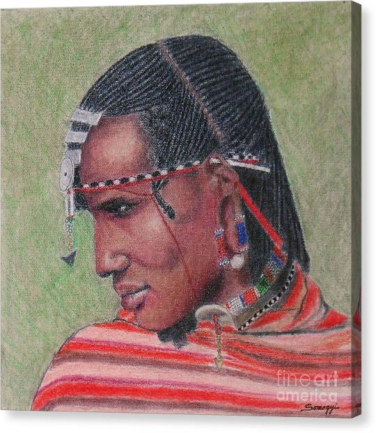 Maasai Warrior II -- Portrait Of African Tribal Man Canvas Print