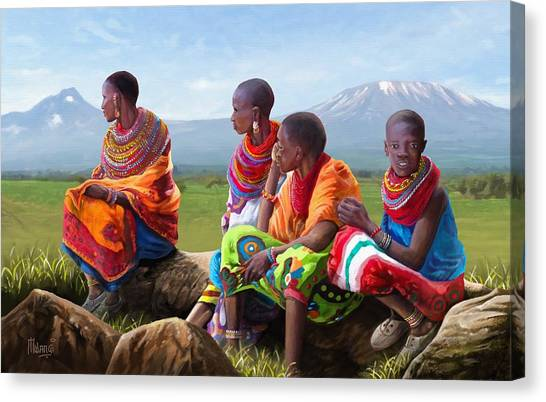 Kenyan Canvas Print - Maasai Women by Anthony Mwangi