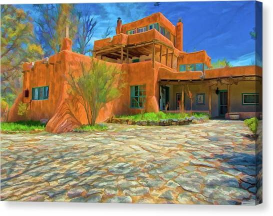 Dennis Hopper Canvas Print - Mabel Dodge Luhan House As Oil by Charles Muhle