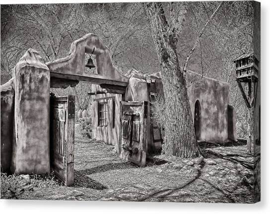 Dennis Hopper Canvas Print - Mabel Luhan's Gate In B-w by Charles Muhle