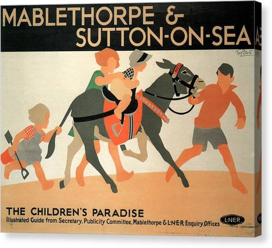 Children Playing On Beach Canvas Print - Mablethorpe And Sutton-on-sea - Children's Paradise - Vintage Poster by Studio Grafiikka