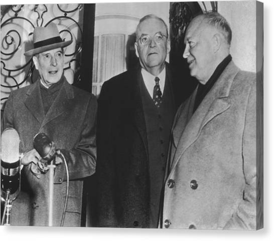Conference Usa Canvas Print - Macarthur, Dulles, Eisenhower by Underwood Archives