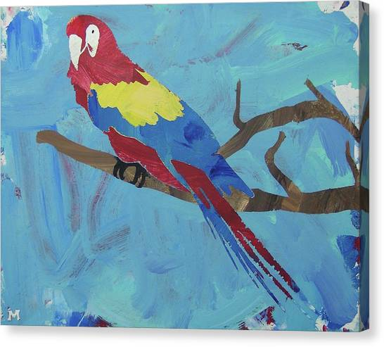 Canvas Print featuring the painting Macaw by Candace Shrope