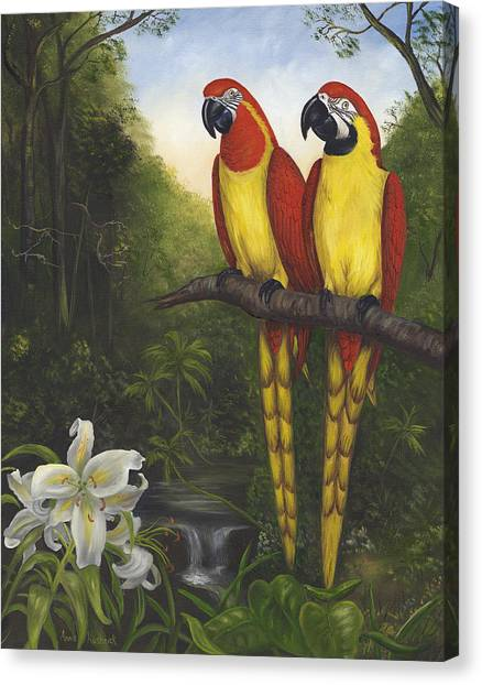Canvas Print - Macaws And Lillies by Anne Kushnick