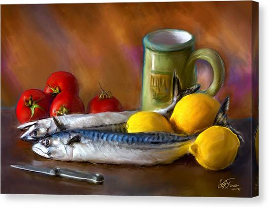 Mackerels, Lemons And Tomatoes Canvas Print