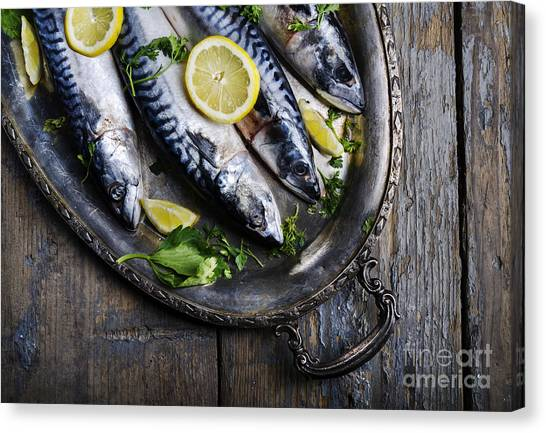 Lemons Canvas Print - Mackerels On Silver Plate by Jelena Jovanovic