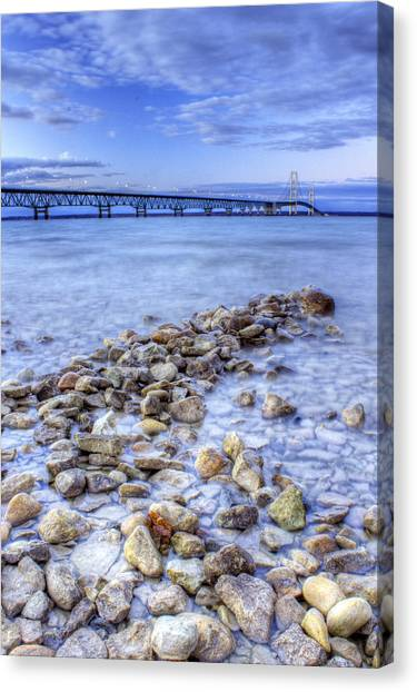 Lake Huron Canvas Print - Mackinac Bridge From The Beach by Twenty Two North Photography