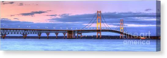 Mac Canvas Print - Mackinac Bridge In Evening by Twenty Two North Photography