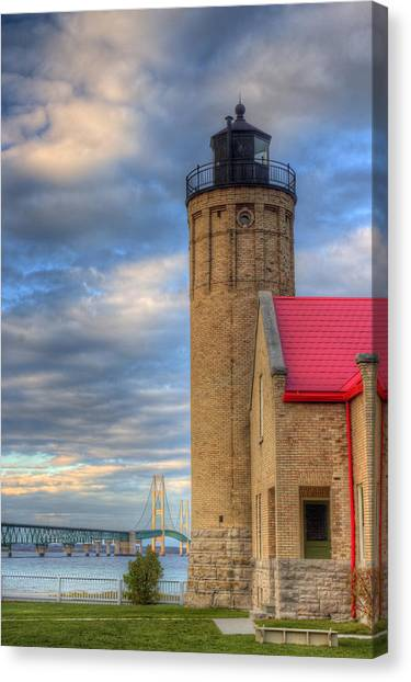 Lake Michigan Canvas Print - Mackinac Lighthoue And Bridge by Twenty Two North Photography