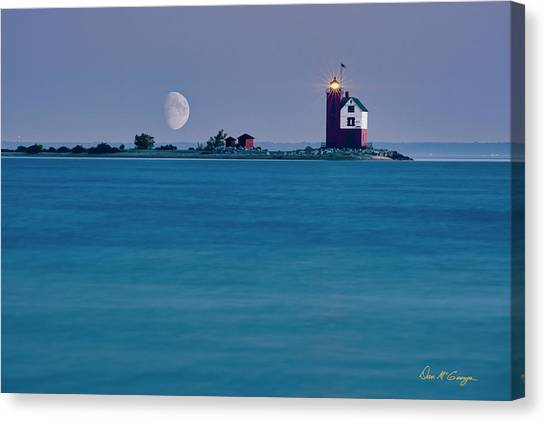 Canvas Print featuring the photograph Mackinac Moon by Dan McGeorge