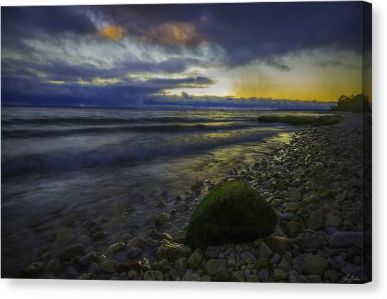 Canvas Print featuring the photograph Mackinaw Island Sunset by Owen Weber