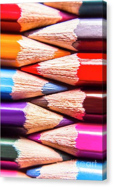 Back Canvas Print - Macro Coloured Pencil Crossover by Jorgo Photography - Wall Art Gallery