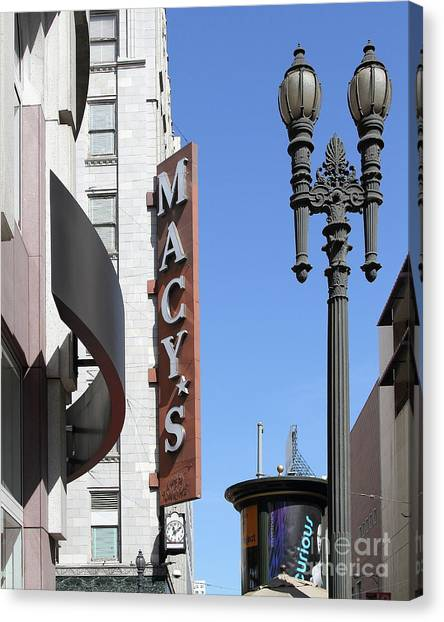 Macys Parade Canvas Print - Macys Department Store In San Francisco California 7d7345 by San Francisco