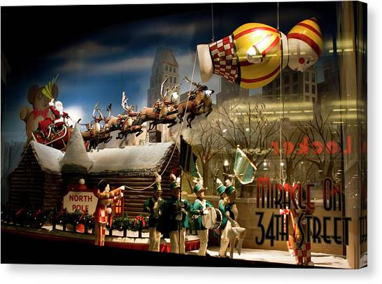 Canvas Print featuring the photograph Macy's Miracle On 34th Street Christmas Window by Lorraine Devon Wilke