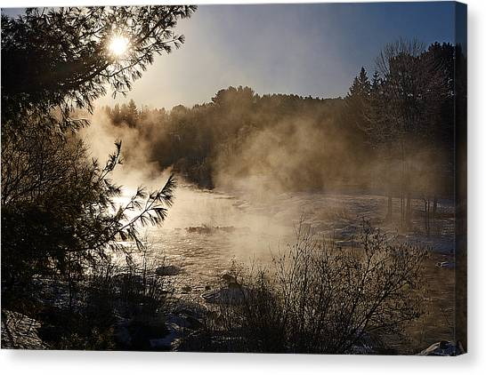 Madawaska River Sunrise Mist Canvas Print