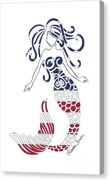 Made In The Usa Tribal Mermaid Canvas Print