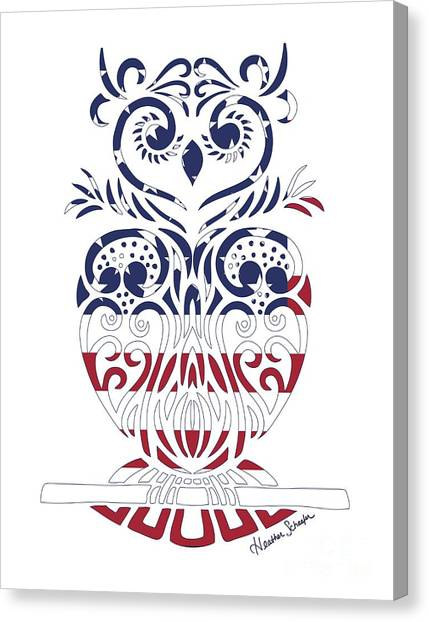 Made In The Usa Tribal Owl Canvas Print