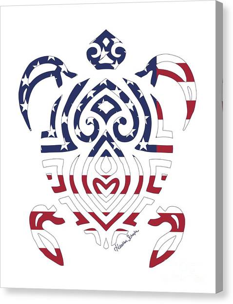 Made In The Usa Tribal Turtle Canvas Print