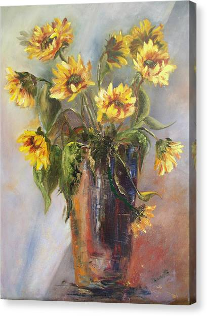 Madelaine's Sunflowers Canvas Print by Jeanette Fowler