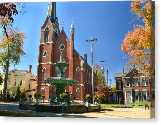 Madison Church And Water Fountain Canvas Print