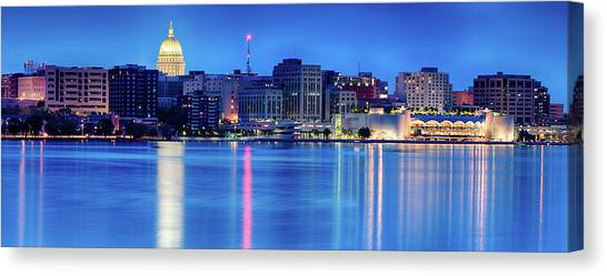 Capitol Building Canvas Print - Madison Skyline Reflection by Sebastian Musial