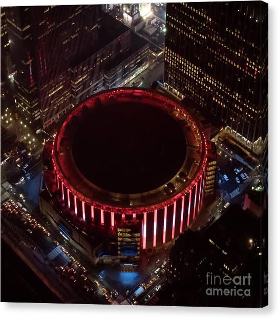 New York Knicks Canvas Print - Madison Square Garden Aerial by David Oppenheimer