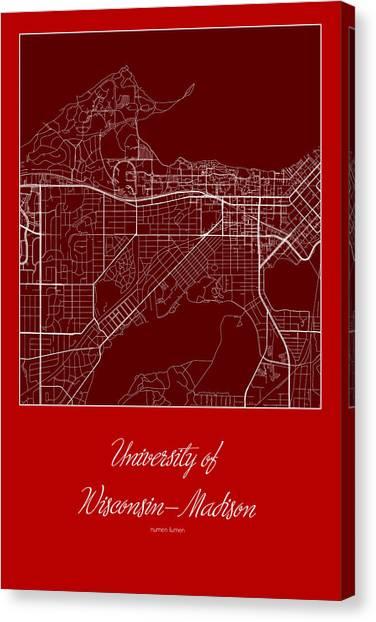 University Of Wisconsin - Madison Canvas Print - Madison Street Map - University Of Wisconsin-madison Madison Map by Jurq Studio