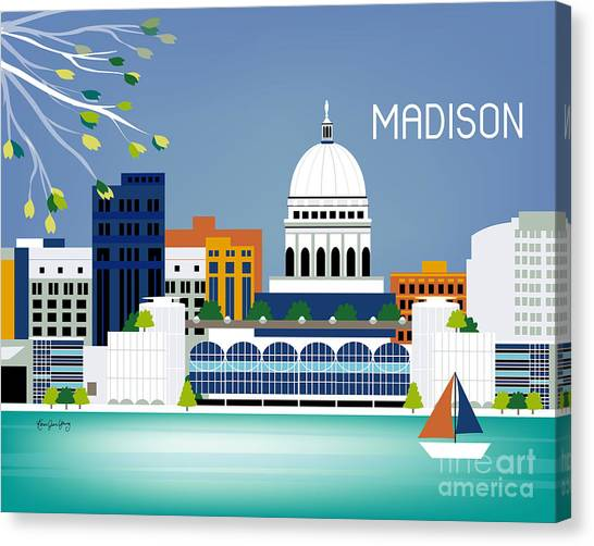 Capitol Building Canvas Print - Madison Wisconsin Horizontal Skyline by Karen Young