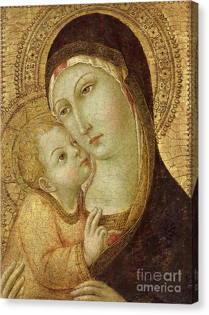 Virgin Mary Canvas Print - Madonna And Child by Ansano di Pietro di Mencio