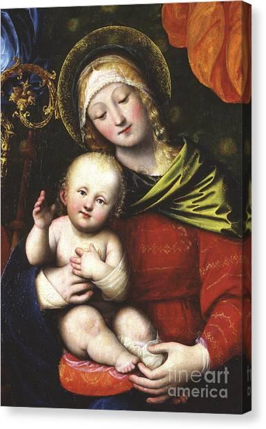 Nude Mom Canvas Print - Madonna And Child by Gaudenzio Ferrari