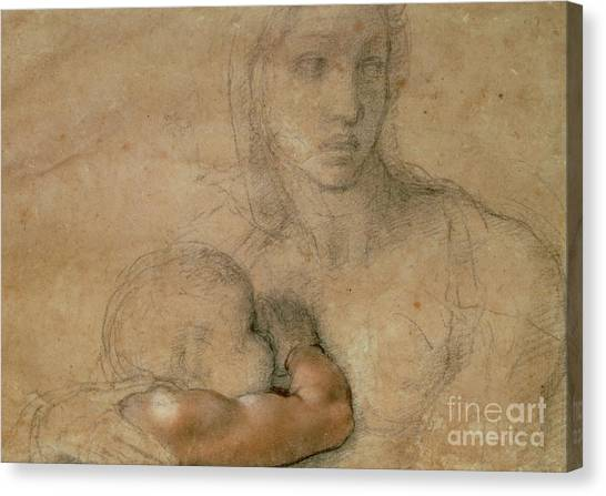 Buonarroti Canvas Print - Madonna And Child by Michelangelo
