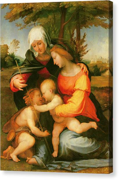 Nude Mom Canvas Print - Madonna And Child  Saint Elizabeth And The Infant Saint John The Baptist by Fra Bartolomeo