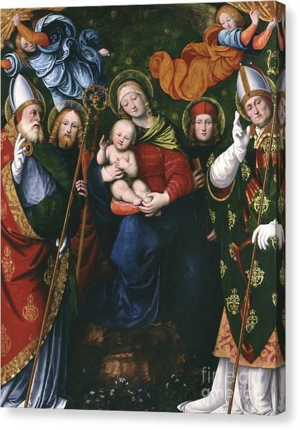 Nude Mom Canvas Print - Madonna, Child And Saints by Gaudenzio Ferrari