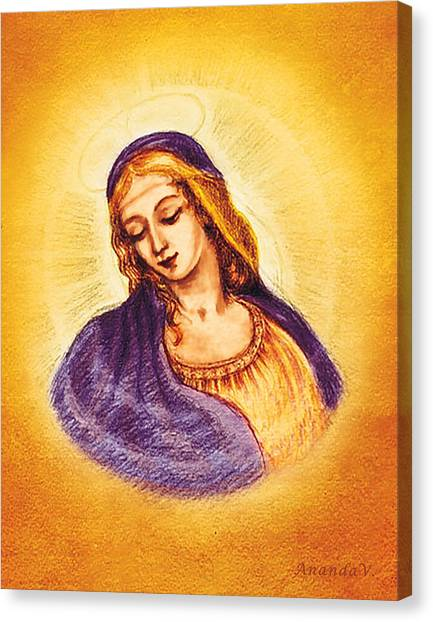 Italian Rennaissance Canvas Print - Madonna In A Halo 2 by Ananda Vdovic