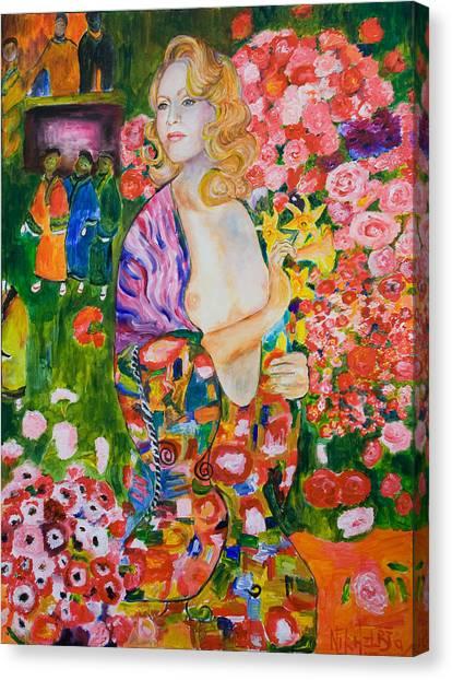 Madonna In Klimt Canvas Print by Nik Helbig
